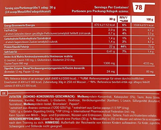 Scitec Nutrition Whey Protein Professional Nährwerte