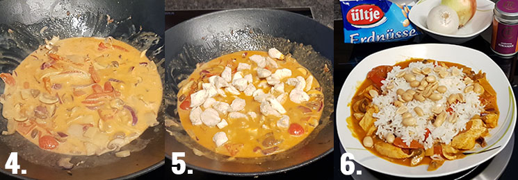 Curry-Hähnchen mit Reis Zubereitung